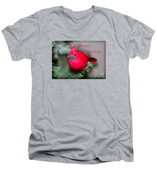 Cardinal Happy Holidays Men's V-Neck T-Shirt