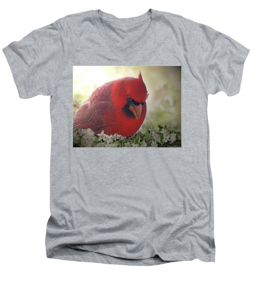 Men's V-Neck T-Shirt featuring the photograph Cardinal In Flowers by Debbie Portwood