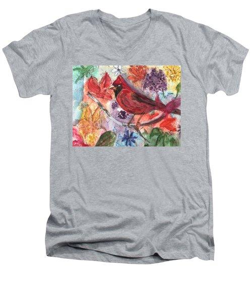 Cardinal In Flowers Men's V-Neck T-Shirt