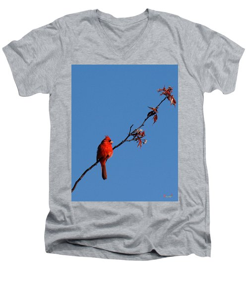 Men's V-Neck T-Shirt featuring the photograph Cardinal On A Cherry Branch Dsb033 by Gerry Gantt