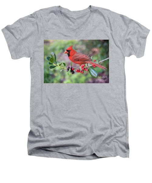 Men's V-Neck T-Shirt featuring the photograph Cardinal On Holly Branch by Bonnie Barry