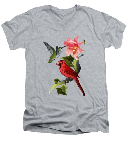 Cardinal On Ivy Branch With Hummingbird And Pink Lily Men's V-Neck T-Shirt