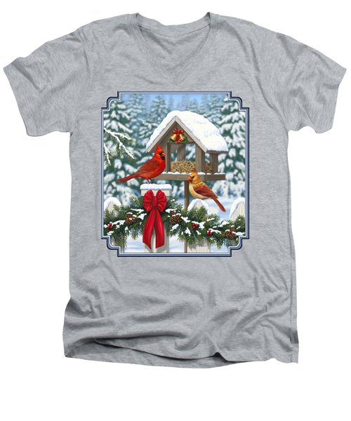 Cardinals Christmas Feast Men's V-Neck T-Shirt by Crista Forest