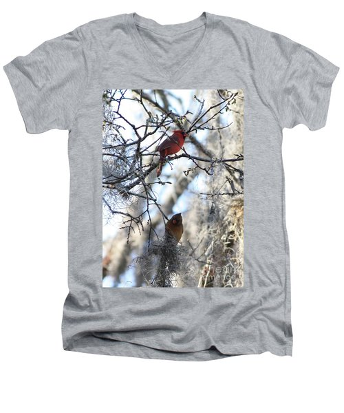 Cardinals In Mossy Tree Men's V-Neck T-Shirt