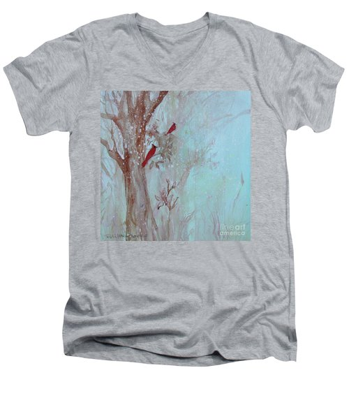 Men's V-Neck T-Shirt featuring the painting Cardinals In Trees Whilst Snowing by Robin Maria Pedrero
