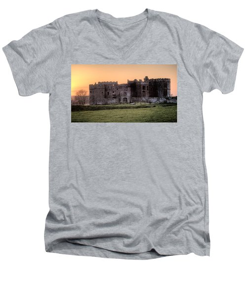 Carew Castle Coral Sunset Men's V-Neck T-Shirt