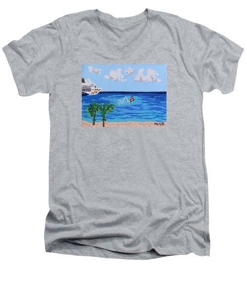 Caribbean Jet Ski Men's V-Neck T-Shirt by Margaret Brooks