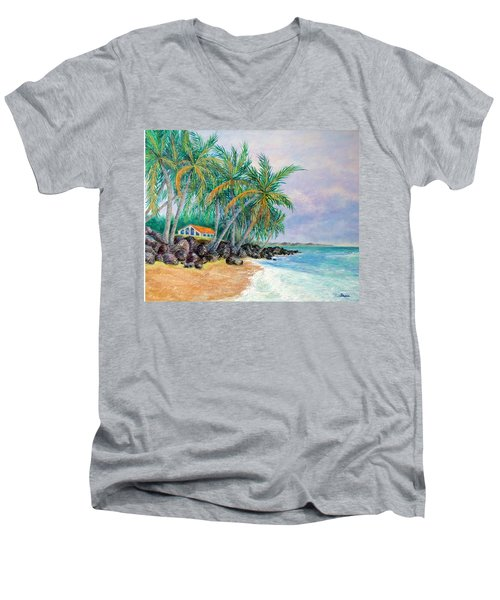 Men's V-Neck T-Shirt featuring the painting Caribbean Retreat by Susan DeLain