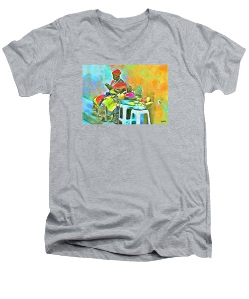 Caribbean Scenes - De Fruit Lady Men's V-Neck T-Shirt by Wayne Pascall