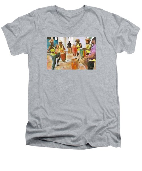 Men's V-Neck T-Shirt featuring the painting Caribbean Scenes - Folk Drummers by Wayne Pascall