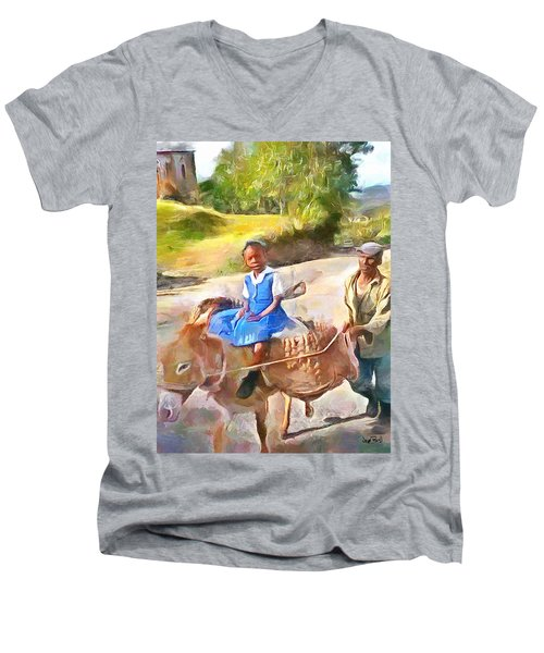 Caribbean Scenes - School In De Country Men's V-Neck T-Shirt by Wayne Pascall