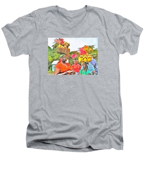 Men's V-Neck T-Shirt featuring the painting Caribbean Scenes - Headstrong Women by Wayne Pascall