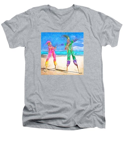 Men's V-Neck T-Shirt featuring the painting Caribbean Scenes - Moko Jumbie by Wayne Pascall