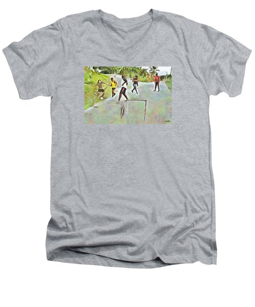 Men's V-Neck T-Shirt featuring the painting Caribbean Scenes - Small Goal In De Street by Wayne Pascall