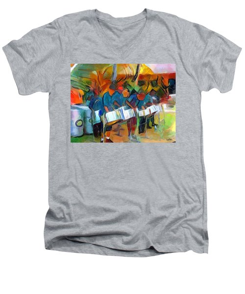 Caribbean Scenes - Steel Band Practice Men's V-Neck T-Shirt