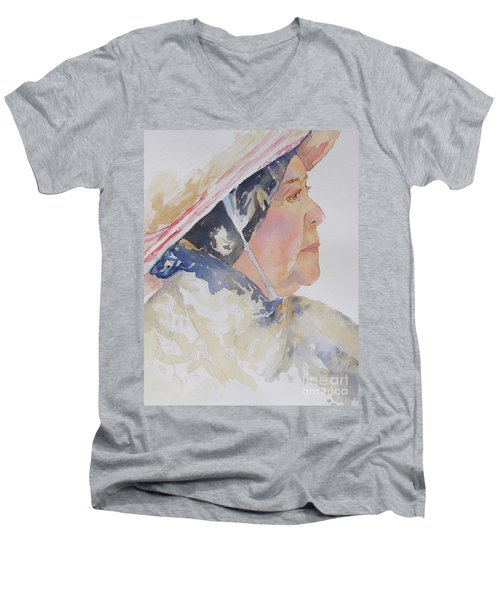 Men's V-Neck T-Shirt featuring the painting Caribbean Sun by Mary Haley-Rocks