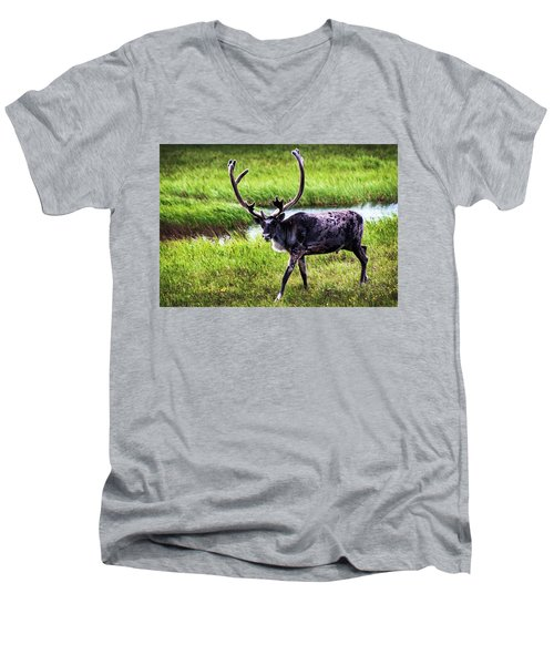 Men's V-Neck T-Shirt featuring the photograph Caribou by Anthony Jones