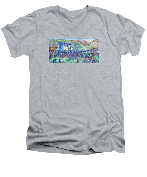 Caribou Mountain Collective At Yarmonygrass Men's V-Neck T-Shirt by David Sockrider