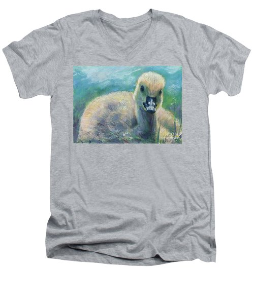Men's V-Neck T-Shirt featuring the mixed media Carla's Duckling by Ryn Shell