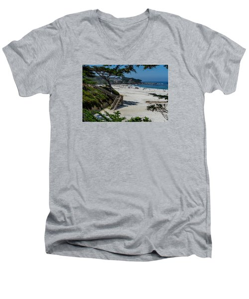 Carmel Beach Stairs Men's V-Neck T-Shirt by Derek Dean