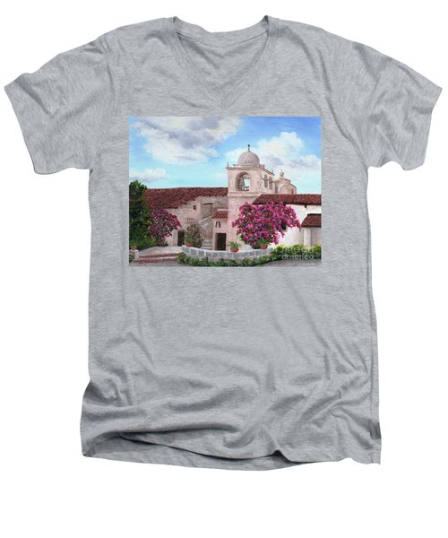 Carmel Mission In Spring Men's V-Neck T-Shirt by Laura Iverson