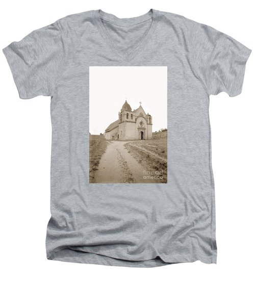 Carmel Mission South Side Circa 1915 Men's V-Neck T-Shirt by California Views Mr Pat Hathaway Archives
