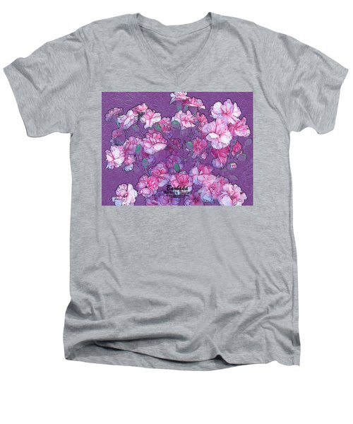 Men's V-Neck T-Shirt featuring the digital art Carnation Inspired Art by Barbara Tristan