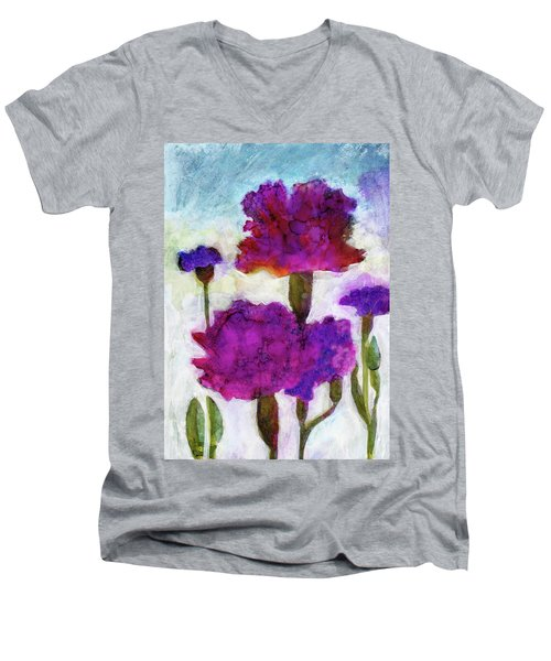 Carnations Men's V-Neck T-Shirt by Julie Maas