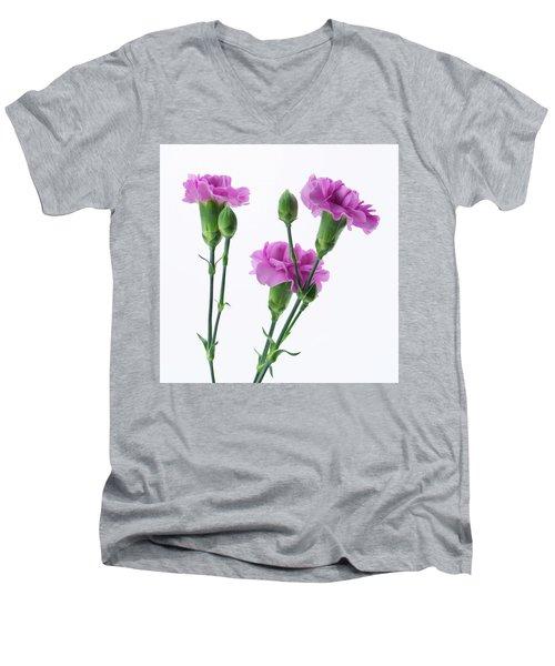 Carnations Three Lavender Men's V-Neck T-Shirt
