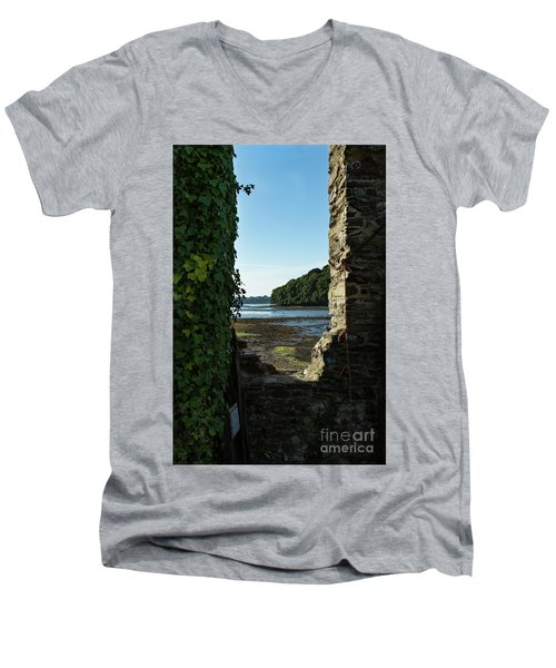 Men's V-Neck T-Shirt featuring the photograph Photographs Of Cornwall Carnon Mine Window by Brian Roscorla