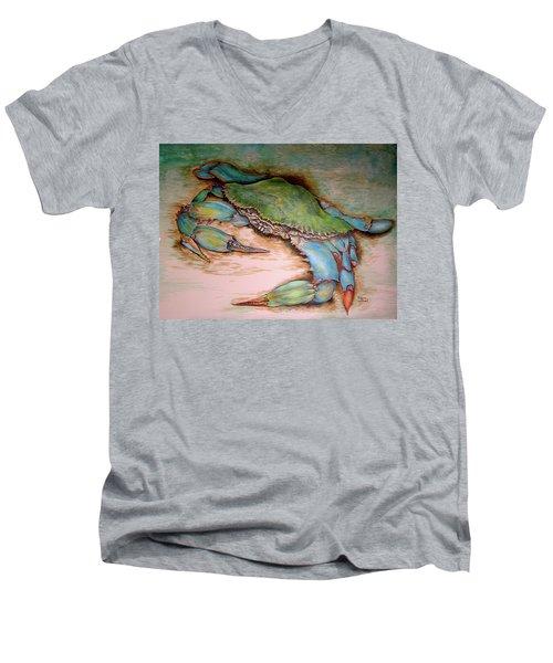 Carolina Blue Crab Men's V-Neck T-Shirt