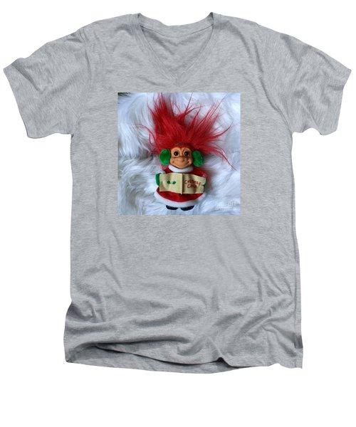 Caroling Troll Christmas 2015 Men's V-Neck T-Shirt