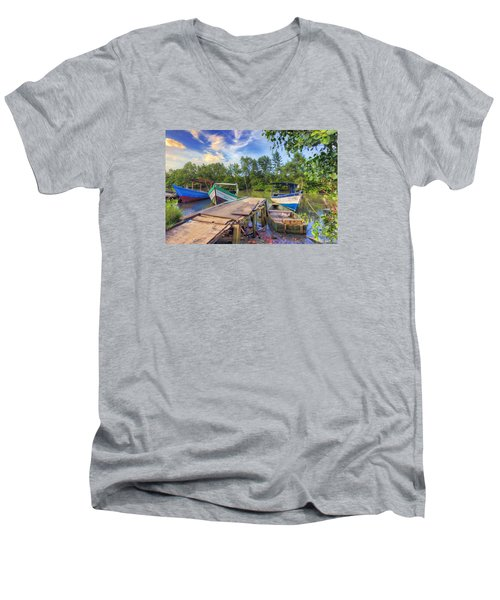 Caroni Swamp Men's V-Neck T-Shirt by Nadia Sanowar