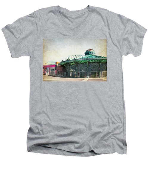 Carousel House At Asbury Park Men's V-Neck T-Shirt by Colleen Kammerer