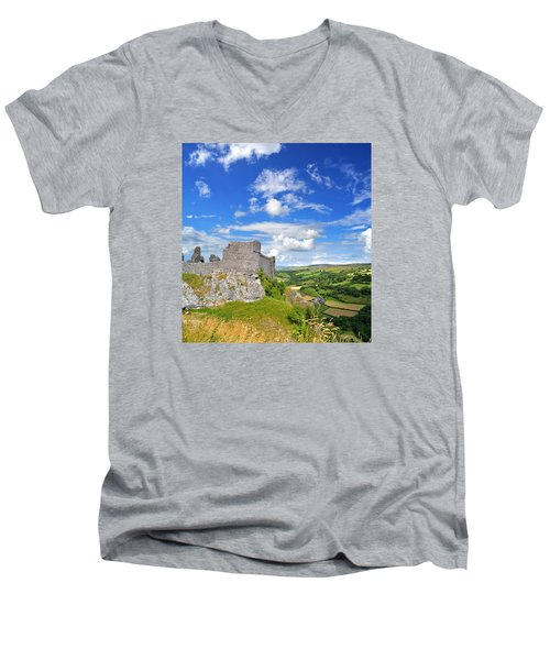 Carreg Cennen Castle 1 Men's V-Neck T-Shirt