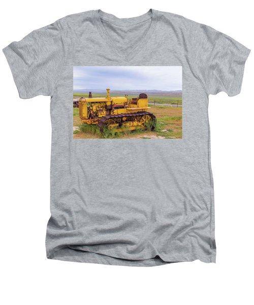 Men's V-Neck T-Shirt featuring the photograph Carrizo Plain Bulldozer by Marc Crumpler