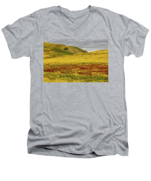 Men's V-Neck T-Shirt featuring the photograph Carrizo  Plain Super Bloom 2017 by Peter Tellone