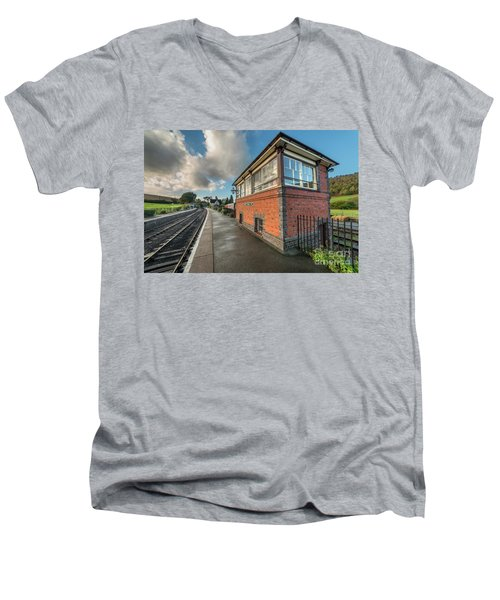 Men's V-Neck T-Shirt featuring the photograph Carrog Signal Box by Adrian Evans
