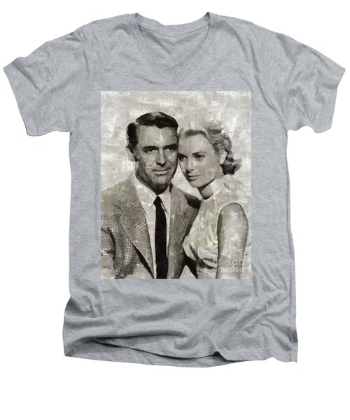Cary Grant And Grace Kelly, Hollywood Legends Men's V-Neck T-Shirt
