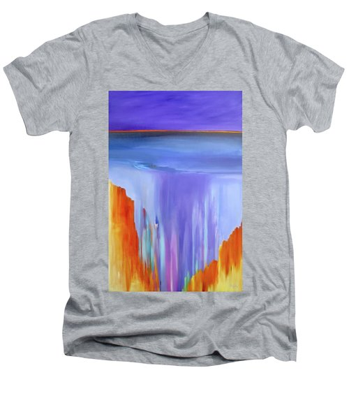 Men's V-Neck T-Shirt featuring the painting Casade by Jo Appleby