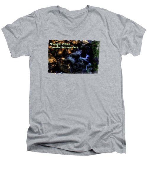 Cascade Along The Tioga Pass Yosemite Men's V-Neck T-Shirt