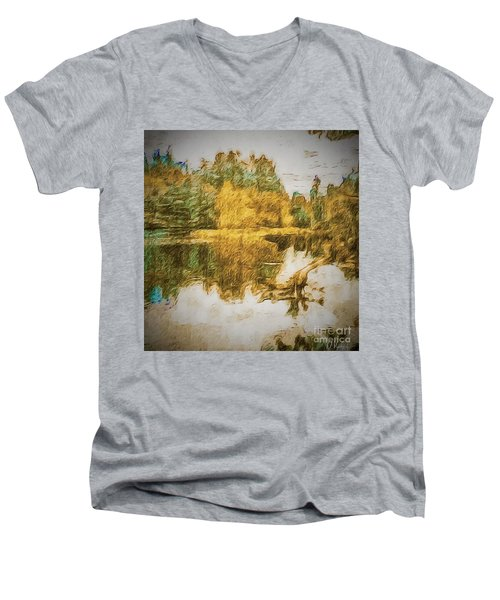 Men's V-Neck T-Shirt featuring the photograph Cascade Lake by William Wyckoff