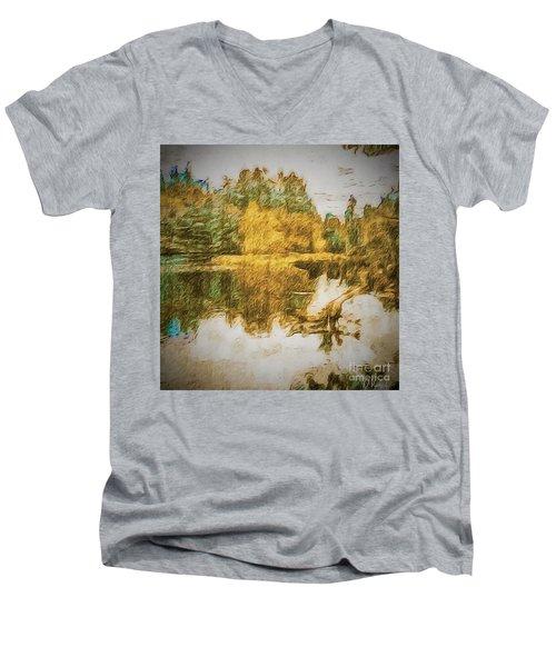 Cascade Lake Men's V-Neck T-Shirt by William Wyckoff