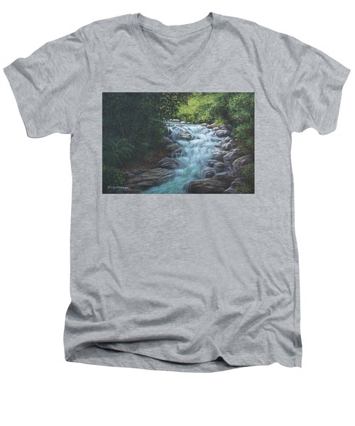 Men's V-Neck T-Shirt featuring the painting Cascading Stream by Kim Lockman