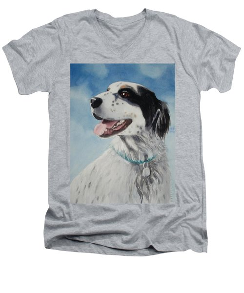 Men's V-Neck T-Shirt featuring the painting Casey by Marilyn Jacobson