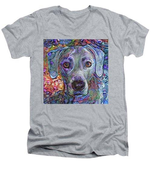 Cash The Blue Lacy Dog Closeup Men's V-Neck T-Shirt