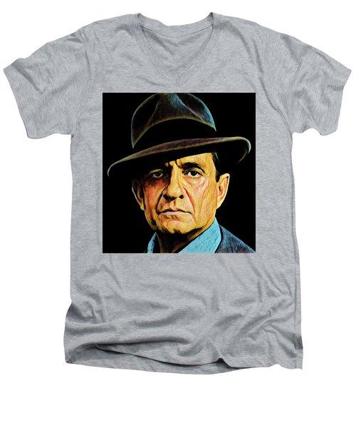 Cash With Hat Men's V-Neck T-Shirt