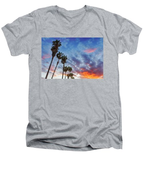 Men's V-Neck T-Shirt featuring the photograph Casitas Palms by John A Rodriguez