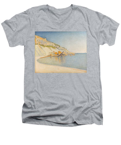 Men's V-Neck T-Shirt featuring the painting Cassis. Cap Lombard. Opus 196 by Paul Signac