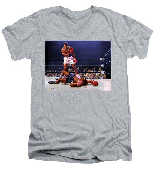Cassius Clay Vs Sonny Liston Men's V-Neck T-Shirt